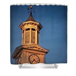 Shepherd University - Mcmurran Clock Tower At Twilight Shower Curtain by Julia Springer