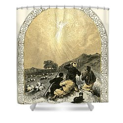 Shepherds And Angel Shower Curtain by Miles Birkett Foster