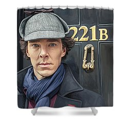Shower Curtain featuring the painting Sherlock Holmes Artwork by Sheraz A