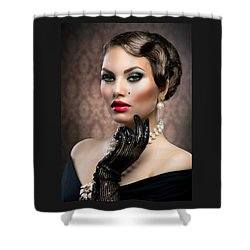 Shower Curtain featuring the digital art She's Got Class by Karen Showell