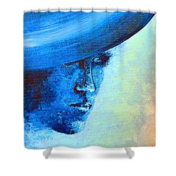 Shi Di Has The Blues Poster Shower Curtain by Alys Caviness-Gober