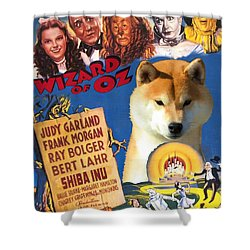Shiba Inu Art Canvas Print - The Wizard Of Oz Movie Poster Shower Curtain