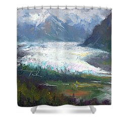 Shifting Light - Matanuska Glacier Shower Curtain