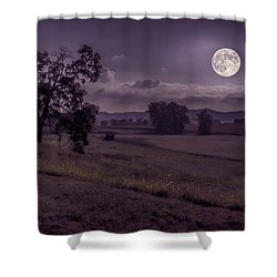 Shower Curtain featuring the photograph Shine On Harvest Moon by Jaki Miller