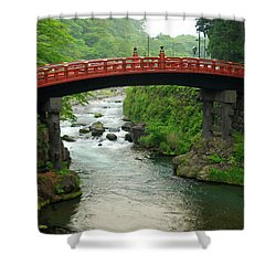 Shinkyo In Nikko Shower Curtain by Jonah  Anderson