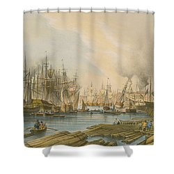 Ship Building At Limehouse Shower Curtain by William Parrot