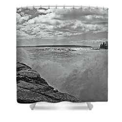 Ship Harbor Rouge Wave Shower Curtain by David Rucker