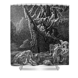 Ship In Antartica Shower Curtain by Gustave Dore