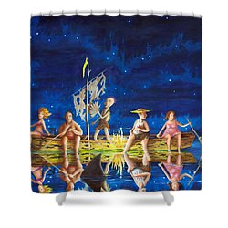 Shower Curtain featuring the painting Ship Of Fools by Matt Konar