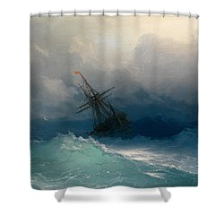 Ship On Stormy Seas Shower Curtain
