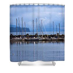 Shower Curtain featuring the photograph Ship To Shore by Jordan Blackstone