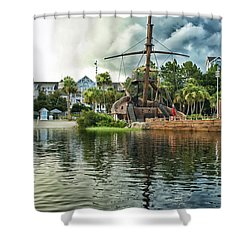 Ship Wrecked At The Disney Yacht And Beach Club Resort Shower Curtain by Thomas Woolworth