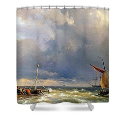 Shipping In A Stiff Breeze Shower Curtain by Hermanus Koekkoek