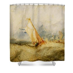 Ships A Sea Getting A Good Wetting Shower Curtain by Joseph Mallord