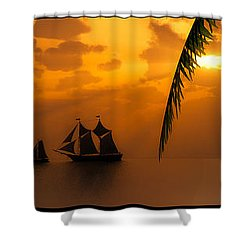 Ships And The Golden Dawn... Shower Curtain