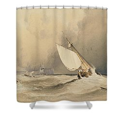 Ships At Sea Off Folkestone Harbour Storm Approaching Shower Curtain by Anthony Vandyke Copley Fielding