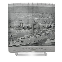Shower Curtain featuring the digital art Ships by Cathy Anderson