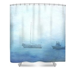 Ships In The Morning Haze  Shower Curtain