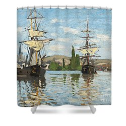 Ships Riding On The Seine At Rouen Shower Curtain by Claude Monet