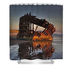 Shipwreck At Sunset Shower Curtain by Mark Kiver