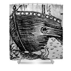 Shower Curtain featuring the painting Shipwreck by Salman Ravish
