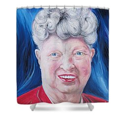 Shower Curtain featuring the painting Shirley's Portrait by PainterArtist FINs husband Maestro