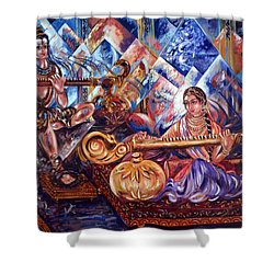 Shiva Parvati Shower Curtain by Harsh Malik