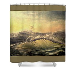 Shower Curtain featuring the painting Shivering Beauty Of Storm by Mikhail Savchenko