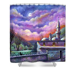 Shower Curtain featuring the painting Shoot For The Moon by Retta Stephenson