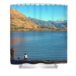 Shower Curtain featuring the photograph Shooting Ducks On Lake Wanaka by Stuart Litoff