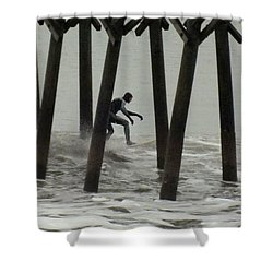 Shooting The Pier Shower Curtain by Karen Wiles