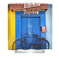 Shop On Street In Goa India Shower Curtain