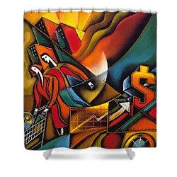 Shopping Shower Curtain by Leon Zernitsky
