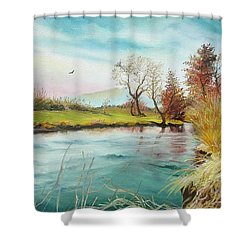 Shower Curtain featuring the painting Shore Of The River by Sorin Apostolescu