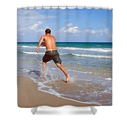 Shore Play Shower Curtain by Keith Armstrong