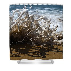Shorebreak - The Wedge Shower Curtain by Joe Schofield