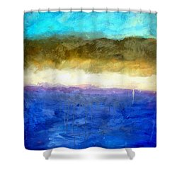 Shoreline Abstract Shower Curtain