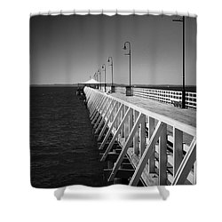 Shower Curtain featuring the photograph Shorncliffe Pier In Monochrome by Peta Thames