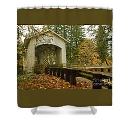 Short Covered Bridge Shower Curtain by Nick  Boren