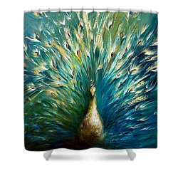 Show Off 3 White Peacock Shower Curtain