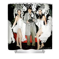 Showgirls And Photographer With Polaroid Shower Curtain by Nina Prommer