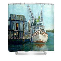 Shrimp Boat Paintings Shower Curtain