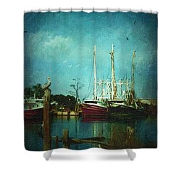 Shrimp Boats Is A Comin Shower Curtain by Lianne Schneider