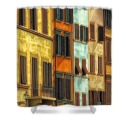 Shuttered Windows Of Florence Shower Curtain by Mike Nellums