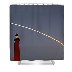 Shower Curtain featuring the photograph Shuttle Discovery Liftoff Over Ponce Inlet Lighthouse by Paul Rebmann