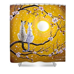 Siamese Cats Nestled In Golden Sakura Shower Curtain by Laura Iverson