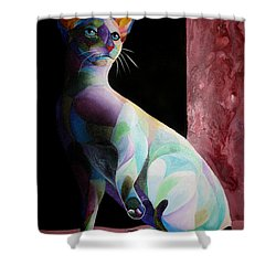Siamese Shadow Cat 1 Shower Curtain by Sherry Shipley