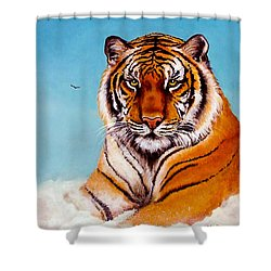 Shower Curtain featuring the painting Siberian King Tiger by Bob and Nadine Johnston