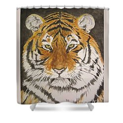 Siberian Tiger Shower Curtain by Regan J Smith