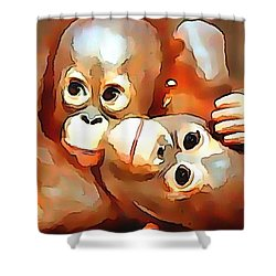 Siblings Shower Curtain by Catherine Lott